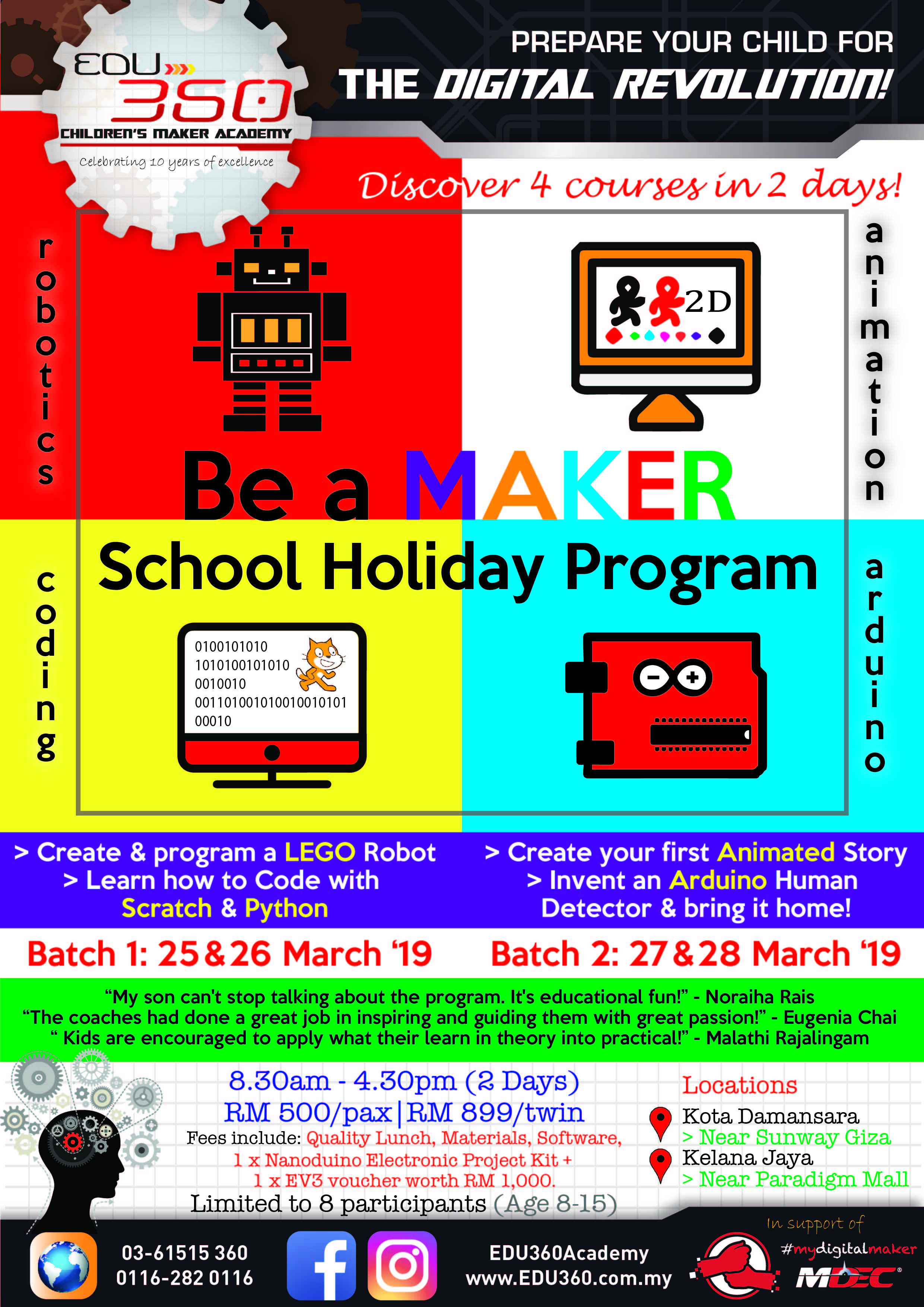 March Malaysia kids School Holiday Program Stem class learning technology computational science workshop